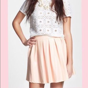 Faux leather pleated skater skirt